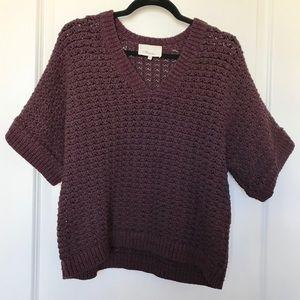 3.1 PHILLIP LIM Plum Purple Crochet Knit Sweater